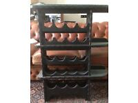 Wooden wine rack and shelf