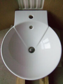 Counter top round vitreous china washbasin sink WHITE - not wall hung