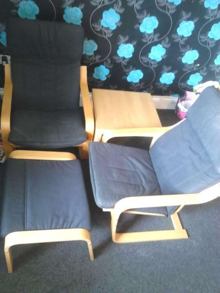 Ikea Poang Chair Gumtree Edinburgh ~ Ikea Poang Armchairs x2, footstool and coffee table (Oak veneer with