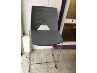 2 AVAILABLE -Kitchen Stool/ Seats- Grey Tall Stool -Silver Legs- Beach Bar Seats