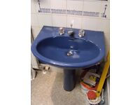 Ideal Standard Brazillia toilet & wash basin in Sorrento Blue