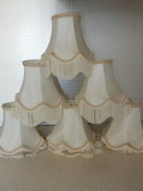 Set of 6 x Ivory Jacquard Vintage Clip on Small Lampshade Tassel shades