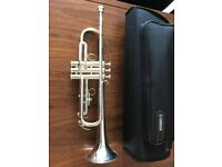 Yamaha YTR-2330 Bb Trumpet in silver-plated finish and silencer system. Perfect condition