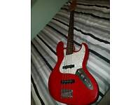 Westfield bass guitar missing 1 replaceable knob. Comes with amp and pedal