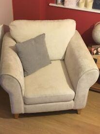 Cream 3 seater sofa, armchair and storage stool