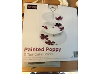 3 Tier Cake Stand available x 8 Lovely poppy pattern, ceramic, as new