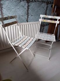 Georgeous Pair of Metal folding chairs with wooden slats