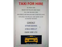 Taxis available 24hr.. Taxis for rent, new taxis for rental with Glasgow city council plates