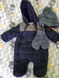 Newborn snowsuit excellent condition plus warm hat and mittens
