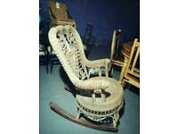 Gorgeous antique Edwardian wicker rocking chair