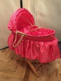 Dolls pink sparkle Moses basket