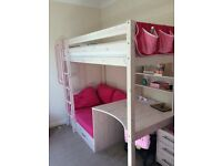 Thuka high sleeper white bed and drawers