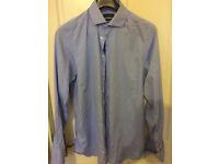 austin reed Blue Extra Slim Fit Micro Herringbone Shirt 16 collar Worn twice