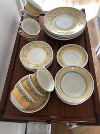 Blue & yellow crockery dinner tea set