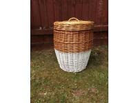 Vintage refurbished wicker basket laundry recycling storage