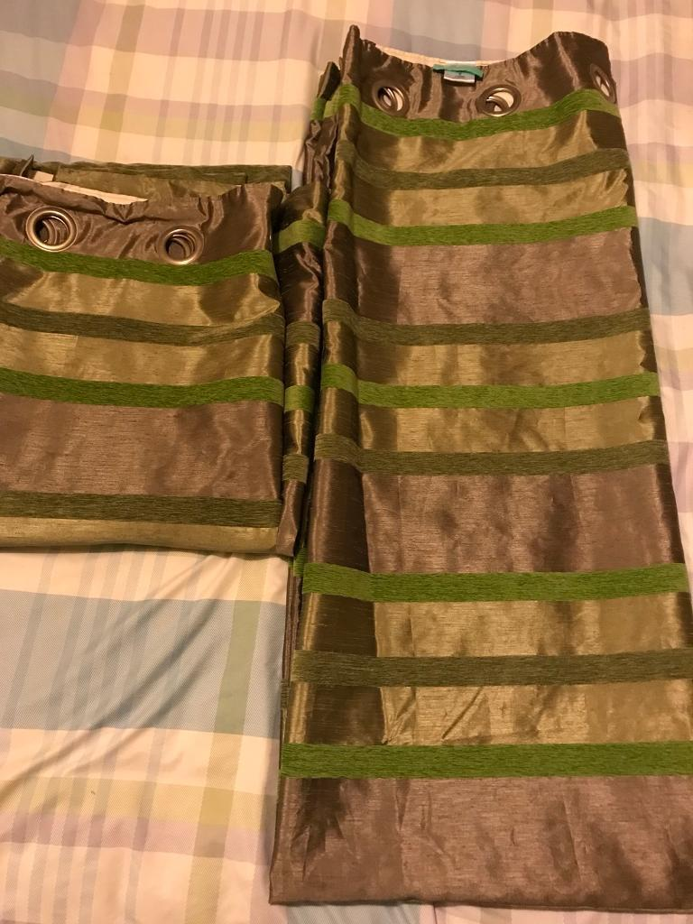 NEXT fully lined genuine quality brown green striped curtains