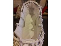 Beautiful white wicker crib with rocking stand from Mothercare