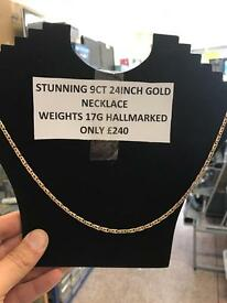 Stunning 9ct gold necklace 24inch great condition