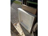 Shower tray and sliding pivot door