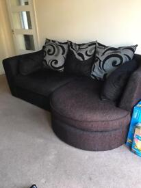 Black 3 seater sofa with chaise