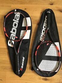 Babolat Pure Strike 16/19 Tennis Rackets x 2. Grip 2. New RPM Blast Restrings