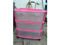 Girls pink plastic drawers storage for crafts toys playroom or bedroom