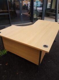 Beech effect curved office desk left handed and right handed 1600mm