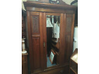 Superb Antique Edwardian Inlaid Mahogany Mirrored Wardrobe