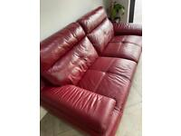 Red real leather sofa - excellent condition 2 seat