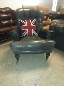 Tetrad Leather spoon Armchair chair in VGC Deliv Poss Buttoned