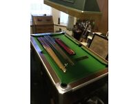 Slate bed pool table with extras