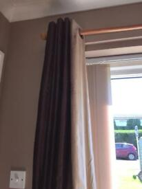 Brown curtains with faux suede stripe approx 90 inches long