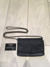 100 % Authentic Genuine Chanel Caviar Wallet On Chain WOC