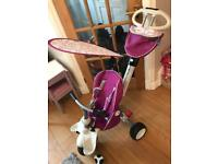 SmartTrike Pink Bike comes with Raincover and basket