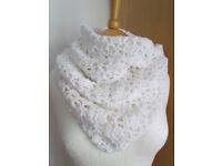 Crochet white tube scarf