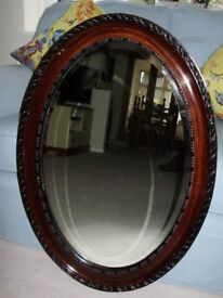 Antique Oval Dark Oak Framed Bevelled Victorian Mirror