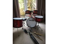 Junior 5 piece drum kit - free cow bell, sticks & music stand