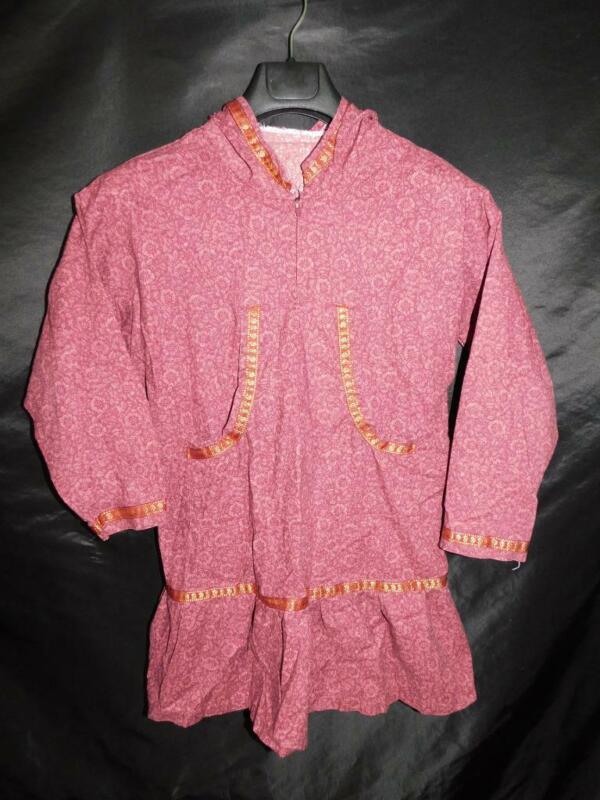 Alaska Native Eskimo Kuspuk S Purple Gold Floral Tunic Dress Cotton Hood Shirt S