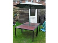 Large 8 seater garden table with brolly