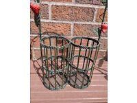 2 bottle wine rack holder carrier strawberry bird feeder
