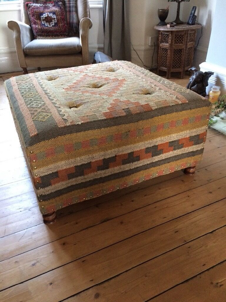 Kilim Aztec Fabric Footstool Pouffe Ottoman Coffee Table Seat Solid Wooden Based And Wooden Feet