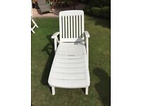 White heavy duty fold up lounger