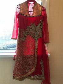 Petite Indian Red Dress with Elasticated Pajami, golden embroidery UK size 8-10