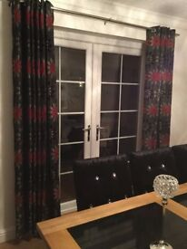 Black and red made to measure curtains with eyelets