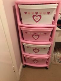 Pink 4 drawer storage stack vgc no offers collect Holyport Maidenhead on castors