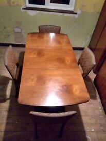 Retro Extendable Dinning Table & 4 High Back Chairs (Beautility)