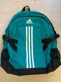 Adidas rack sack back pack sports bag, pocket for water bottle.