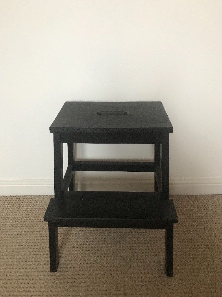 Ikea Black Wooden Step Stool