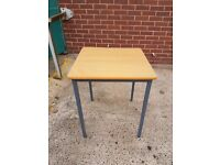 Beech Wood effect School exam tables / Office side tables / square cafe tablles