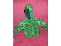 Mothercare green jacket with dinosaur design, size 9-12months.